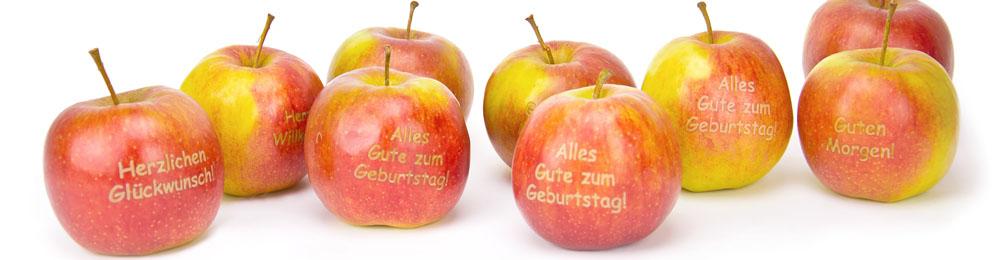 Fruchtbeschrifter Apfel Mit Grussbotschaften Und Motiven Aus Unserem Sortiment